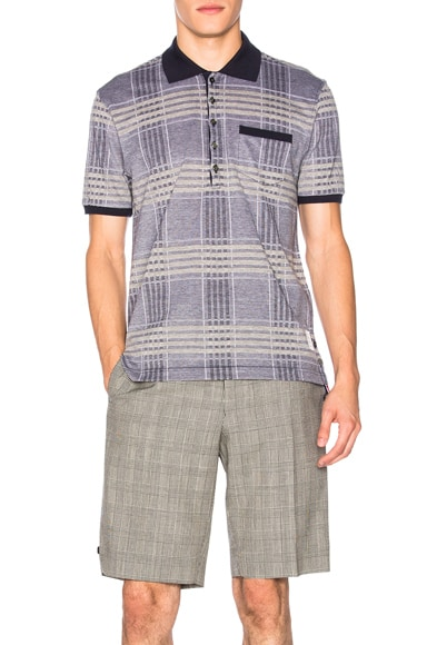 Thom Browne Oversize Check Pique Polo in Navy & Winter White