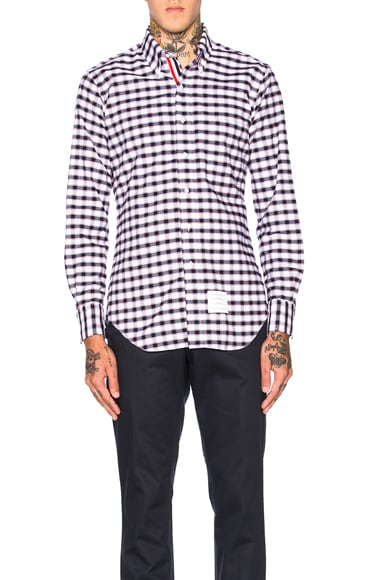 Thom Browne Gingham Check Oxford Shirt in Red, White & Blue