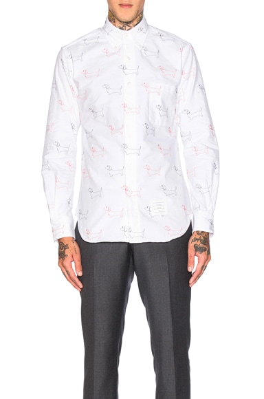 Thom Browne Hector Embroidery Oxford Shirt in White