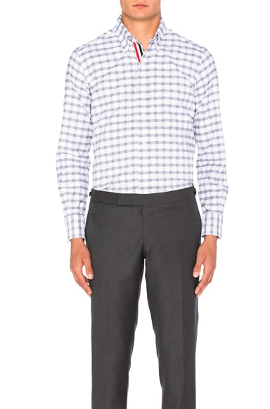 Thom Browne Gingham Check Oxford Shirt in Medium Grey