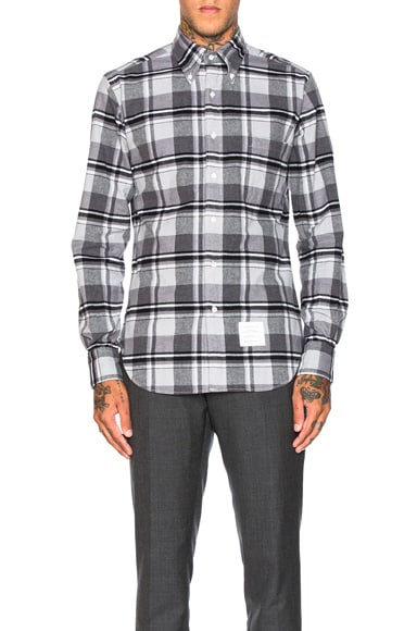 Thom Browne Winter Madras Brushed Oxford Shirt in Medium Grey