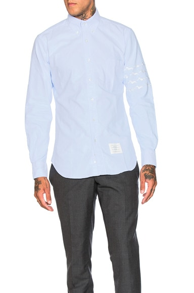 Thom Browne Hector & Bone Embroidered Oxford Shirt in Light Blue