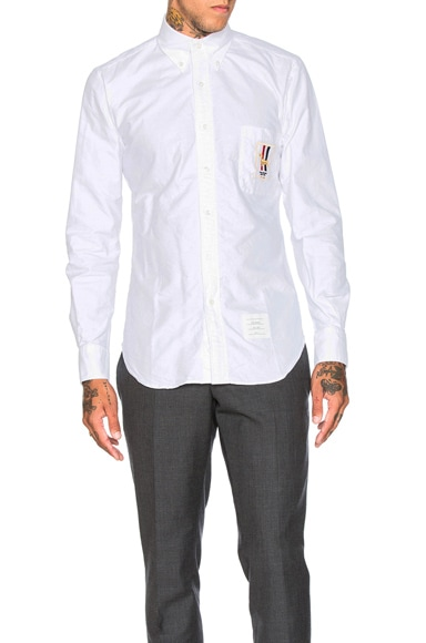 Thom Browne Hector Pocket Crest Oxford Shirt in White