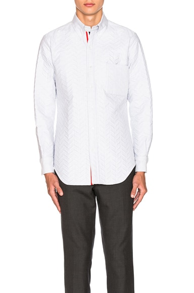 Thom Browne Quilted Small Herringbone Oxford Shirt in Medium Grey