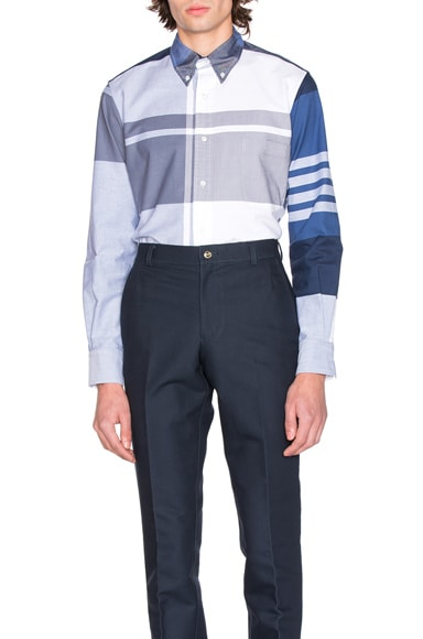 Thom Browne Oversized Plaid Oxford Shirt in Blue