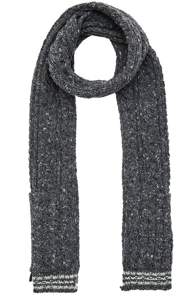 Thom Browne Cable Funmix Scarf in Medium Grey