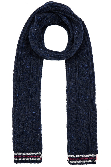 Thom Browne Cable Funmix Scarf in Navy