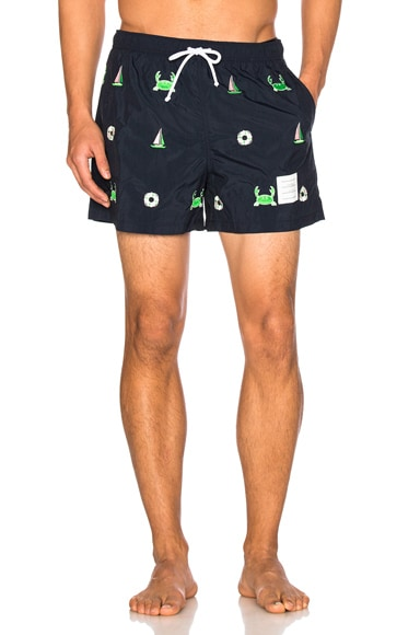 Thom Browne Fun Mix Icon Embroidered Swim Trunks in Navy