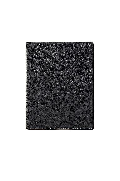 Thom Browne Pebble Grain Passport Holder in Black