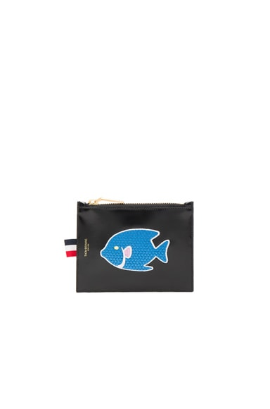 Thom Browne Embroidered Small Coin Purse in Black