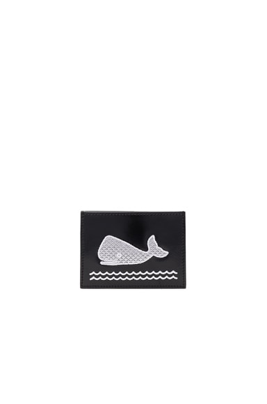 Thom Browne Embroidered Single Cardholder in Black