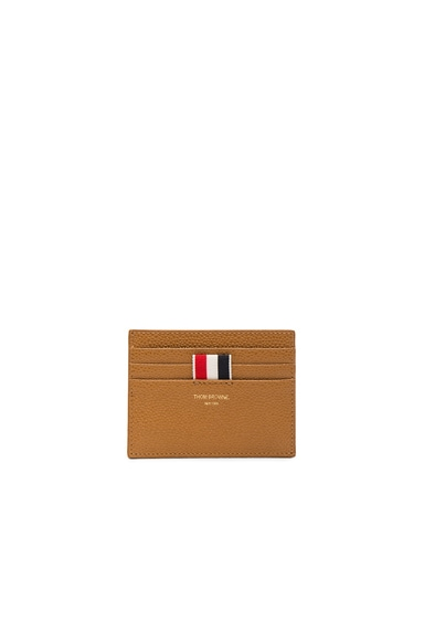 Thom Browne Pebble Grain Cardholder in Medium Brown