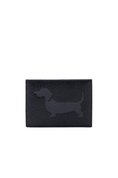 Pebble Grain & Patent Leather Single Card Holder
