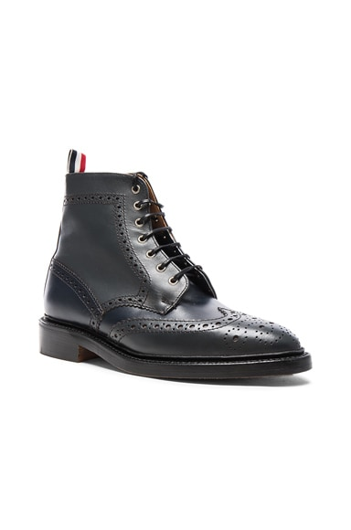 Thom Browne Classic Leather Wingtip Boots in Medium Grey