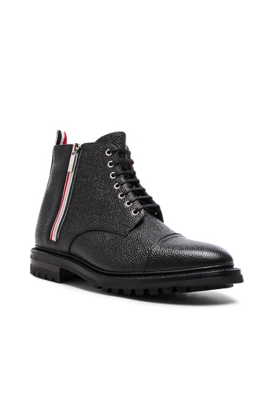 Thom Browne Side Zip Cap Toe Leather Boots in Black