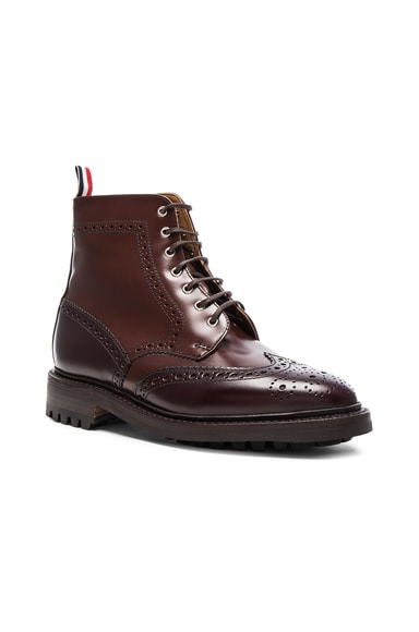Thom Browne Leather Classic Wingtip Boots in Dark Brown