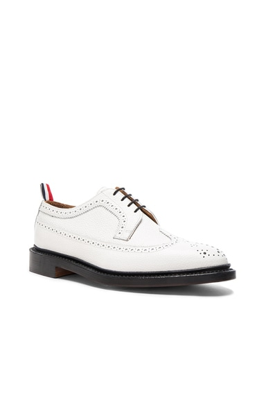 Thom Browne Contrast Longwing Leather Brogues in White