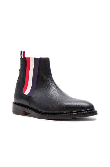 Pebble Grain Leather Chelsea Boots