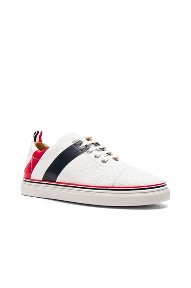 Pebble Grain & Calf Leather Straight Toe Cap Sneakers