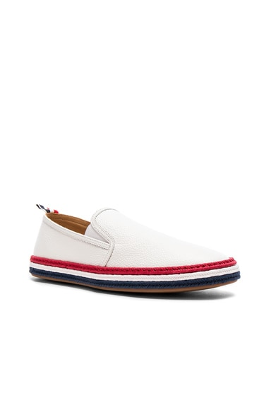 Pebble Grain Leather Espadrilles