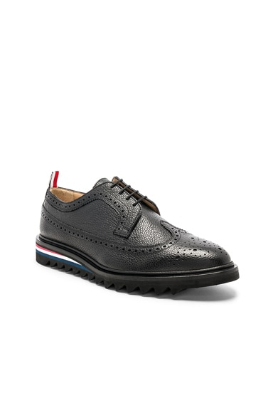 Pebble Grain Classic Longwing Brogue with Threaded Rubber Sole