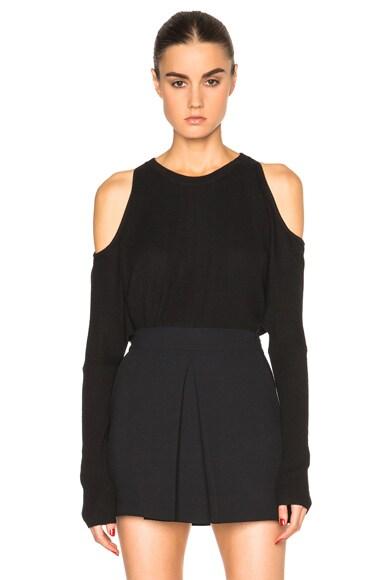 Tamara Mellon Cold Shoulder Cashmere Sweater in Black