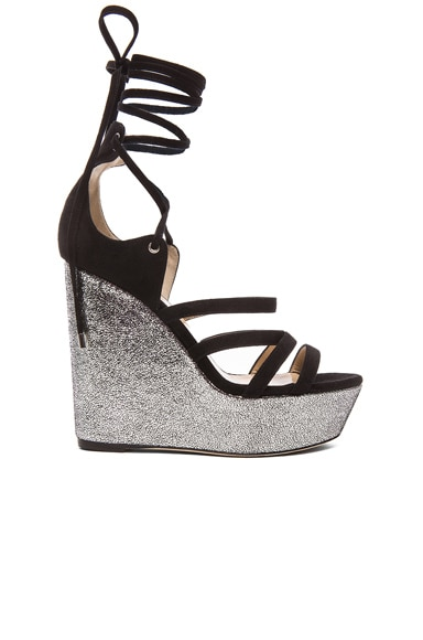 Tamara Mellon Yosemite Suede Wedge Sandals in Black & Silver