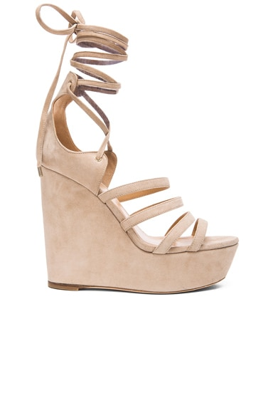Tamara Mellon Yosemite Suede Wedge Sandals in Nude