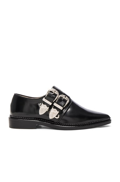 TOGA PULLA Buckled Leather Oxfords in Black Polido