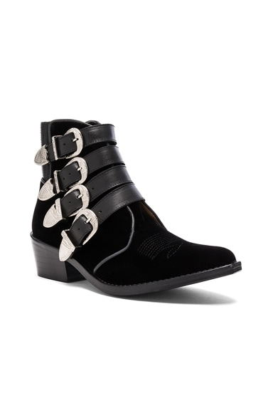 Velvet Buckled Booties