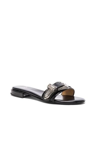 Buckle Leather Slides