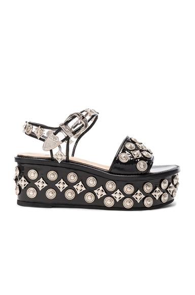 TOGA PULLA Patent Leather Platform Sandals in Black