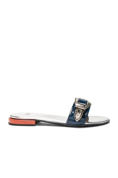 Buckle Patent Leather Slides