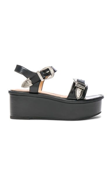 TOGA PULLA Buckle Leather Flatforms in Black Polido