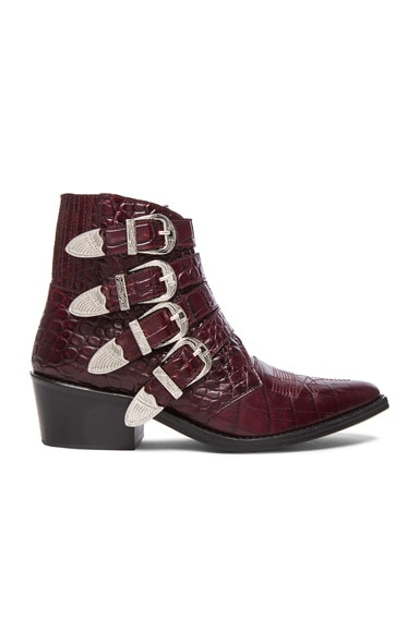 Embossed Leather Buckle Booties