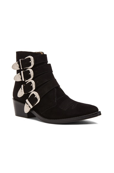 Suede Buckled Booties
