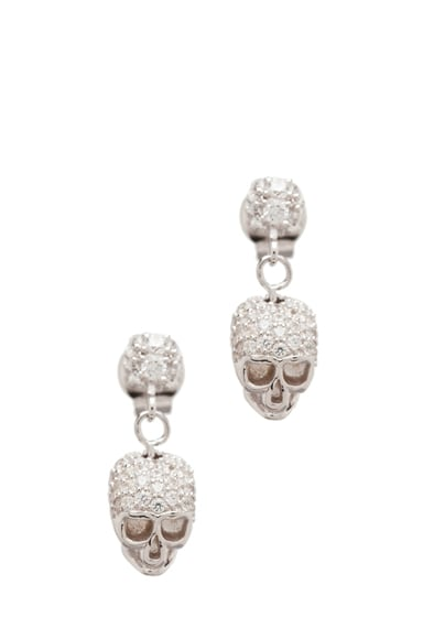 Bejeweled Charm Offensive Plated Skull Earrings