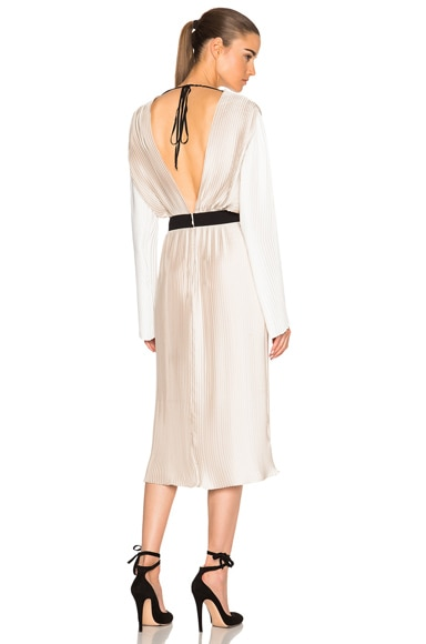 Tome Pleated Wrap Dress in Bone