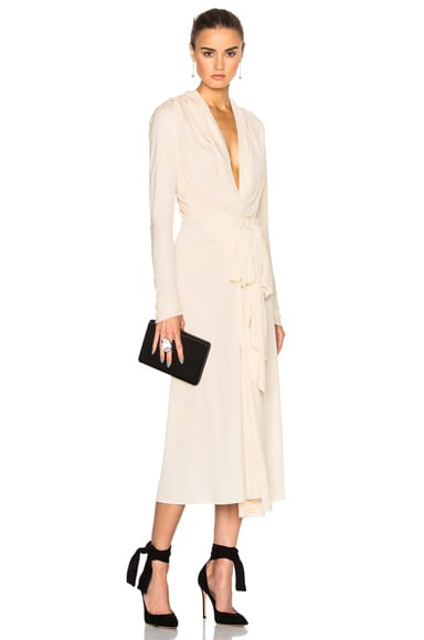 Tome Bow Drape Dress in Ivory