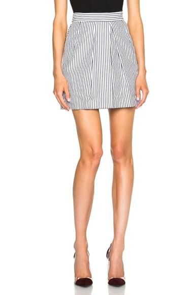 Tome Cotton Poplin Culotte Shorts in Black Stripe