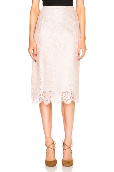 Tome Lace Pencil Skirt in Blush