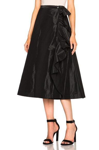 Tome Taffeta A Line Ruffle Skirt in Black