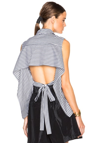 FWRD Exclusive Striped Poplin Tie Back Top