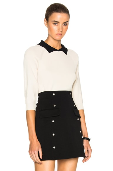 Toteme Ladis Pique Sweater in Ivory & Black