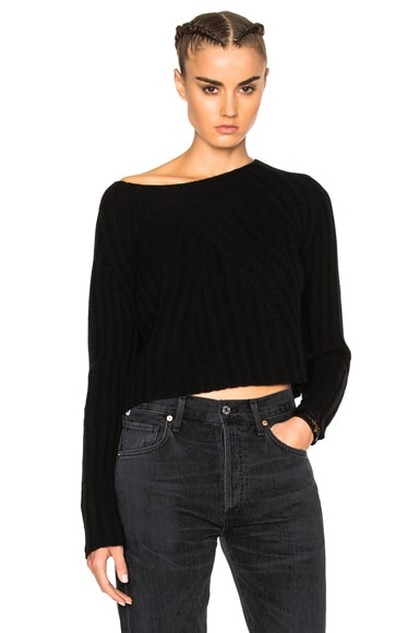 ThePerfext Casey Cropped Long Sleeve Sweater in Black