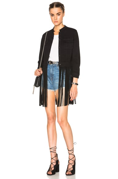 ThePerfext Molly Denim and Leather Fringe Jacket in Black