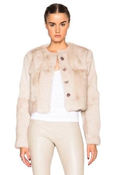 ThePerfext Nikki Long Sleeve Rabbit Fur Coat in Beige