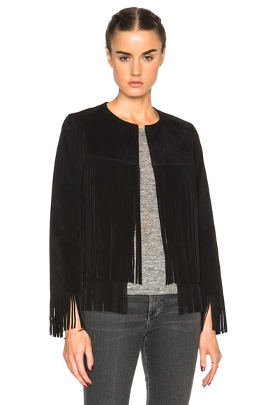 ThePerfext Ryder Classic Thin Fringe Jacket in Black Suede