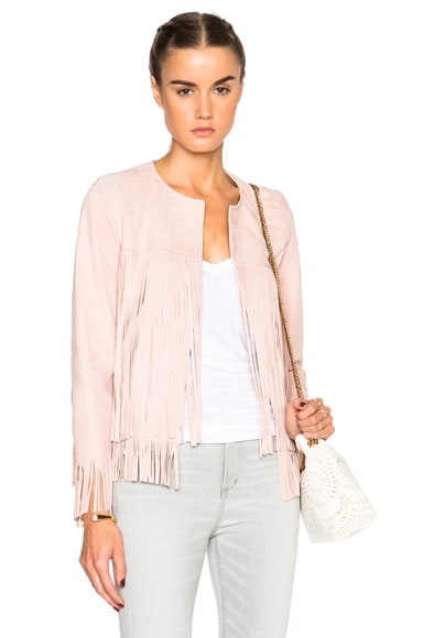 ThePerfext Ryder Classic Thin Fringe Jacket in Dusty Rose Lamb