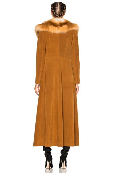 Penny Lane Long Suede Coat with Fox Fur Collar